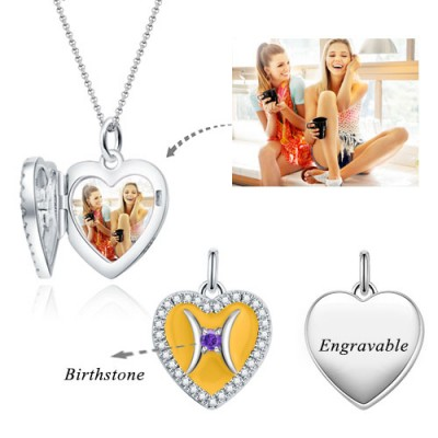 Pisces - Personalized Heart Photo  Necklace