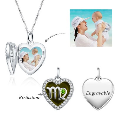 Virgo - Personalized Heart Photo  Necklace