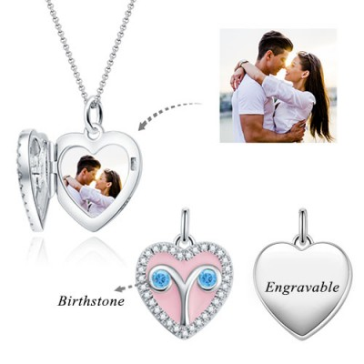 Aries - Personalized Heart Photo  Necklace