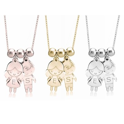 Engraved Children Pendant Necklace 1-5 Charms Optional