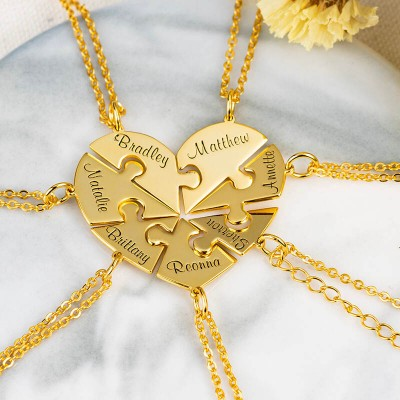 Personalized Heart Shape 1-7 Pieces Necklace For Family