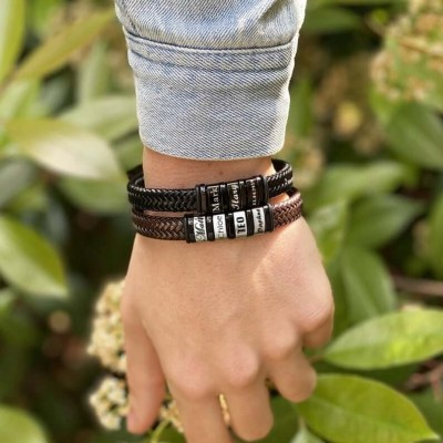 Personalized Mens Beads Braid Leather Bracelet With 1-10 Beads