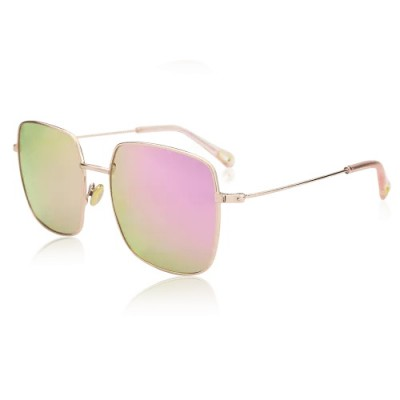Square Sunglasses With Pink Lenses And Rose Gold Frame