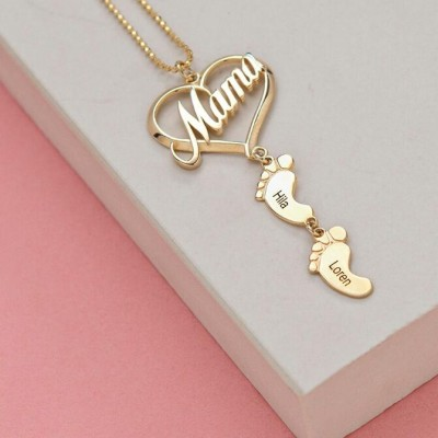 Personalized Love MaMa Heart Baby Feet Shape Engraved Name Necklaces With 1-8 Pendants
